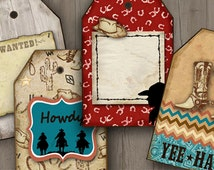 Western Digital Download Hang Tags Collage Sheet, Gift Tags, Paper Crafts, Cards, birthday party printables