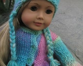 18 Inch Doll Sweater & Matching Earflap Hat