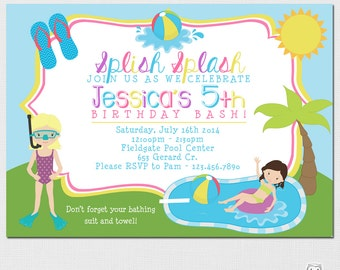 Pool Party Invitation, Kids Pool Party Invitation, Pool Invitation, Pool Birthday, Summer Birthday Party, Pool Party Birthday, Printable DIY