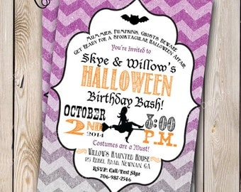 Halloween Invitation Halloween Costume Party Halloween Birthday Party Invitation Witch Customizable 5x7 Invitation