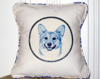 """shabby chic, feed sack, french country, delft Corgi graphic with toile welting 14"""" x 14"""" pillow sham."""