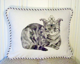 """shabby chic, feed sack, french country, vintage cat graphic with french ticking welting 12"""" x 16"""" pillow sham."""