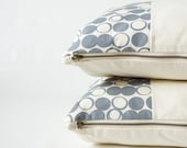 Pillow Cover Set - Organic Screen Printed Pillow Covers - Gray Geometric Print