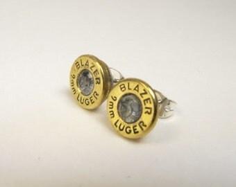 Bullet earrings cubic zirconia and brass post earrings Blazer 9mm luger