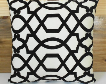 Black and white velvet decorative pillow, trellis throw pillow