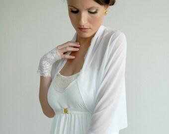 Wedding Bolero, Semi Sheer Shrug, Bridal Accessory, White Shrug With 4 Wearing Options- Shawl, Shrug, Twisted Shawl And Loop Scarf CF102