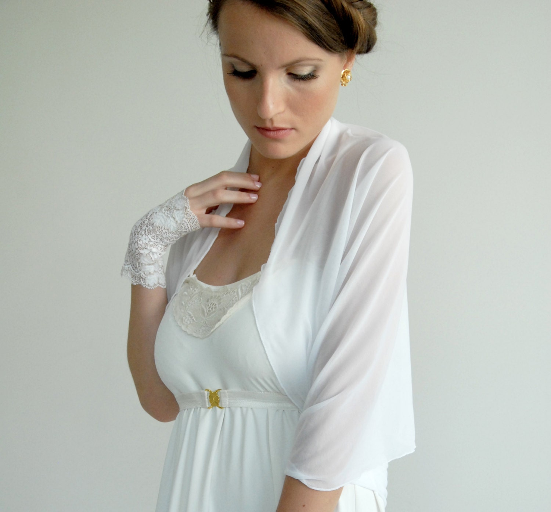 Wedding Bolero Semi Sheer Shrug Bridal Accessory White