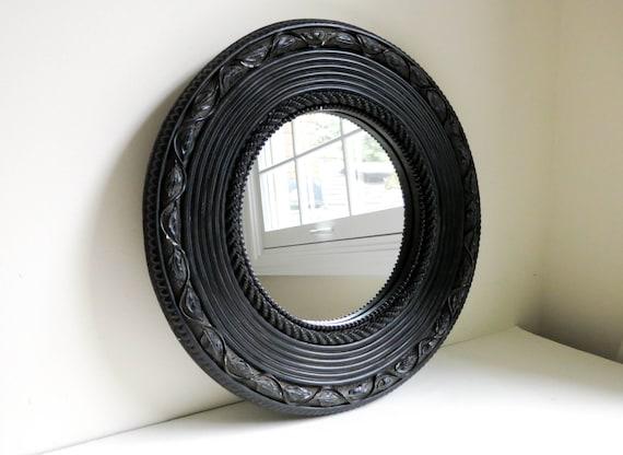 Vintage round black wall mirror leaf vine bead rope for Round black wall mirror