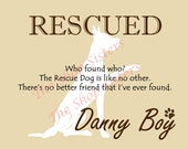 Rescue Dog Print Personalize customize Silhouette 8 x 10 Wall Art pet FREE SHIPPING