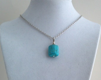 Genuine Turquoise Square Pendant Necklace