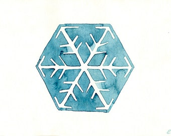 Original watercolor Snowflake art painting Snow geometric Hand painted art card