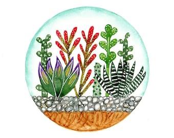 Original watercolor painting Terrarium art Succulent Cactus garden Nature wall decor