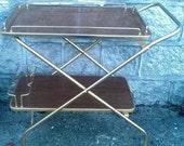 Vintage Drinks Tea Trolley Bar Cart Folding Formica Shelves