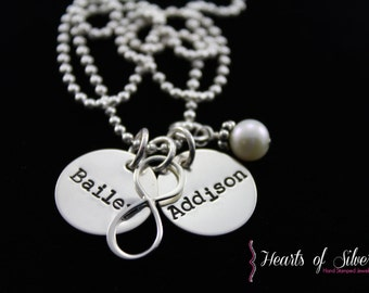 Hand Stamped Jewelry - Personalized Jewelry - Sterling Silver - Infinity Charm Necklace