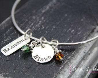 Mommy Bangle Bracelet- Handstamped Jewelry- Sterling Silver Bangle Bracelet- Charm Bracelet