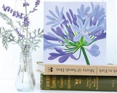 Agapanthus Birthday Card - blank, birthday, notelet