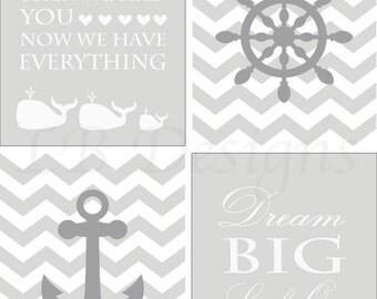 Gray and White Nursery, Gender Neutral Nursery Decor, Nautical Nursery Art, Whale Nursery Decor - 8x10s