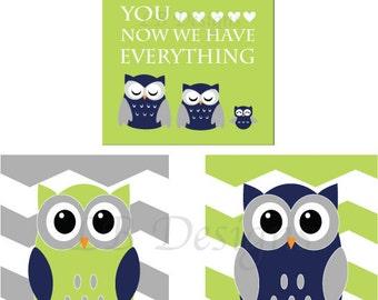 Navy Blue, Green and Gray Nursery, Owl Nursery Prints, Woodland Nursery Decor - Three 8x10s
