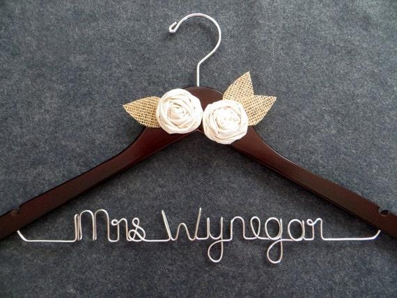 RUSH ORDER -- RUSTIC Bridal Hanger - Personalized Wedding Dress Hanger - Burlap Hanger - Mrs Hanger - Shower Gift - Custom Bride Gift