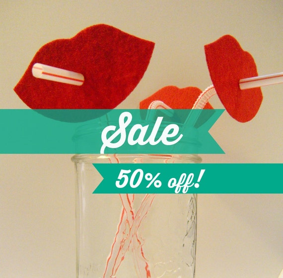 SALE! HALF price! 50% off. Set of TEN. Lips on a straw photo booth prop party favors