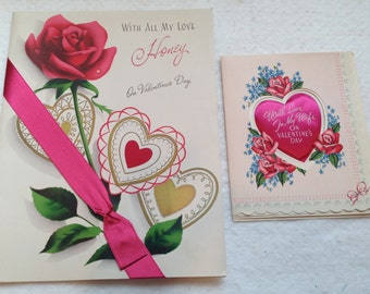 """1940's Paramount """"Wife"""" Valentine Card and Norcross """"Honey"""" Valentine Card"""