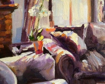TANIA SE SITKAMER Art Print of Original Oil Painting, Sunlit Room