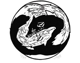 Foxes Circular Original Linocut Print