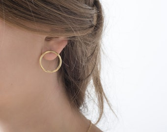 22k Matte Gold plated circle post earrings , classic pair of studs with wavy texture perfect for everyday wear