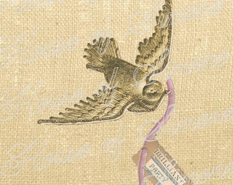 Dresden Bird Swallow Christmas Gold Vintage Download Graphic Image Art Transfer burlap tote towels Pillow royal Gift Tag Digital Sheet 1150