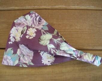 Womens Headband Fabric Headband Summer Fashion Accessories Women Hair Wrap Headwrap Headscarf in Purple with Lilac Roses print