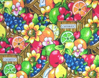 Fruit and Flowers fabric by the yard , Apples , Oranges , Lemons , Limes , High quality cotton fabric by the yard for sewing / quilting