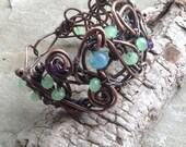 Seafoam and copper free form bangle