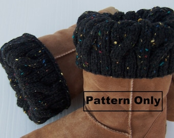 PATTERN Boot Cuff Knitting Pattern- Easy Chunky Cables, Boot Sweater, Pattern ONLY, PDF format Winter Fashion