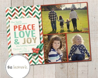 Digital Christmas Card -- Peace, Love & Joy (Single-sided)
