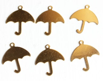 Gold Umbrella Charms (6x)