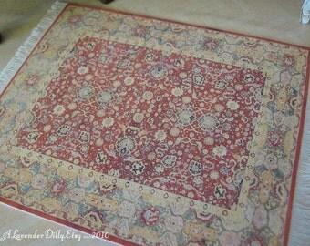 M Turkish Fringed Dollhouse Rug, Small Carpet Miniature