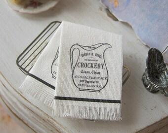 Sack Cloth Crockery Tea Towel Dollhouse.