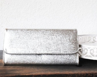 Glam Silver Purse Clutch Shiny Evening Bag, Vintage After Five Envelope, 1970s Disco Fashion