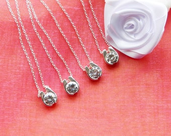 Bridesmaids Necklace Set of Four Sterling Silver Horseshoe Shaped Charms