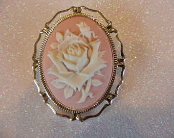 Rose Flower Pink White 3D Cameo Pin Brooch Loop Silver tone or Gold Tone Setting Birthday Anniversary Wedding Retro Vintage Style Gift