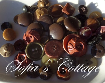 Antique Brown Button Variety Package, Vintage