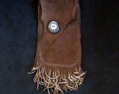 Sheep Skin Belt Bag with Teak & Abalone - Double Fringe
