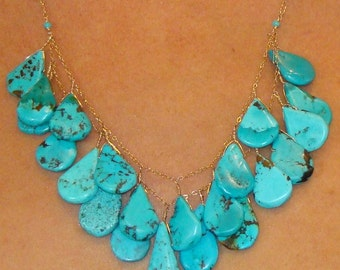 Turquoise Petal Bibbed Necklace
