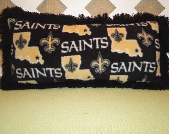 New Orleans Saints Pillow in Black and Toffee Cream Fleece