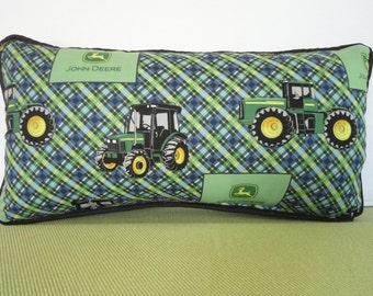 John Deere Pillow in Green Blue Yellow Plaid / Farm Theme Pillow / Tractor Pillow / Accent Pillow