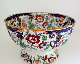 Antique Ironstone English Pottery Punchy Bowl