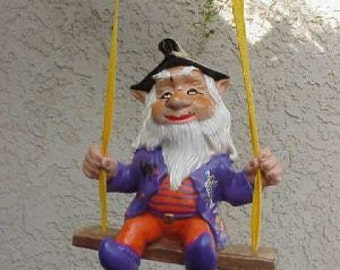 Halloween Gnome in a swing
