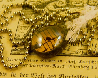 Vintage Sheet Music Soldered Amber Glass Pebble with Vintage Lace Gift Mother's Day Musician Instrumentalist