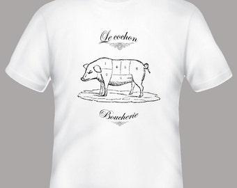 Boucherie Couchon Pig Hog Butcher Meat Collage Vintage Illustration Tee