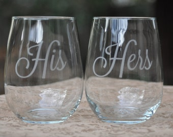 His and Hers Stemless Wedding Table Setting